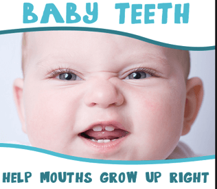 Baby teeth - help mouths grow up right with baby smiling